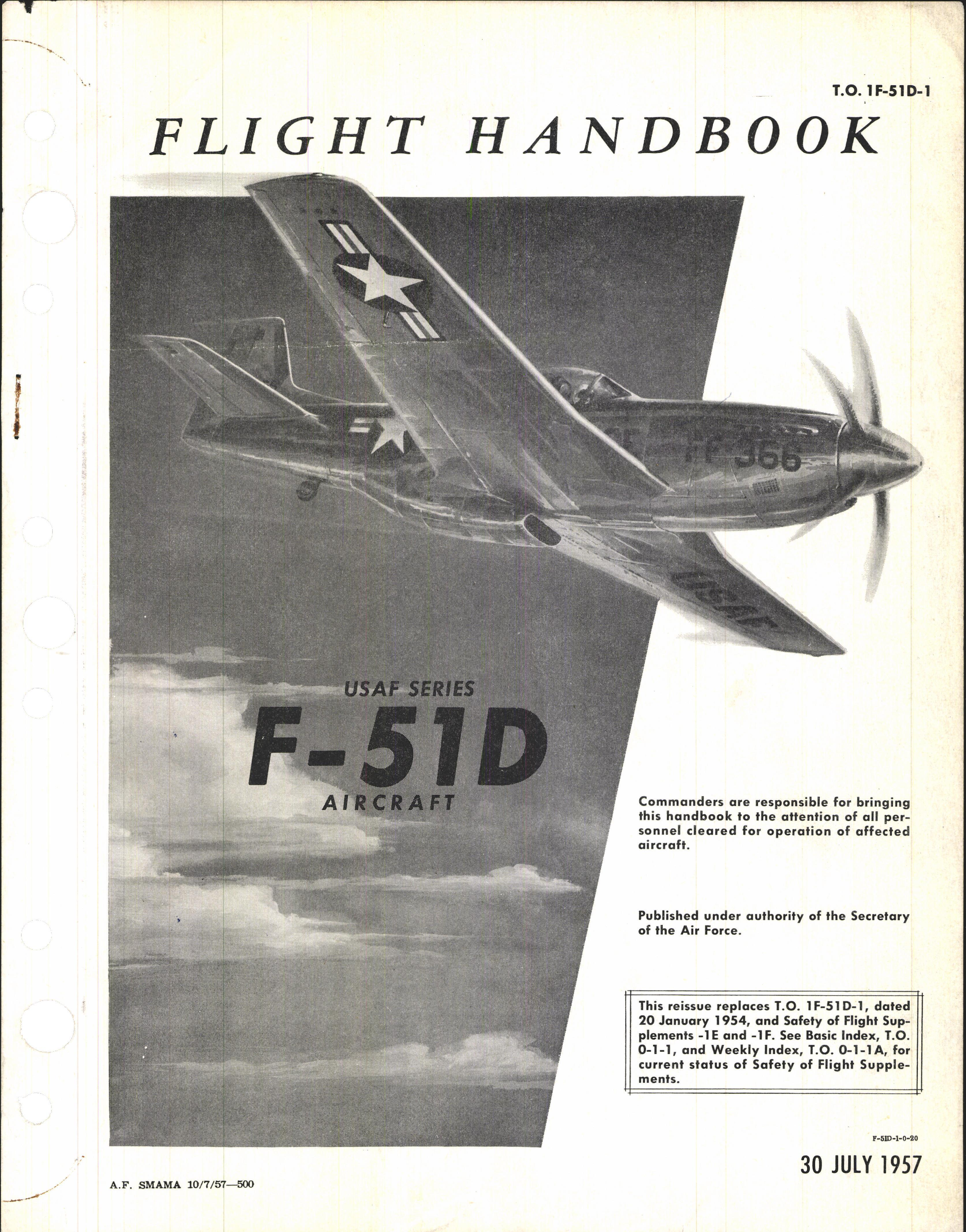 Sample page 1 from AirCorps Library document: F-51D Flight Handbook