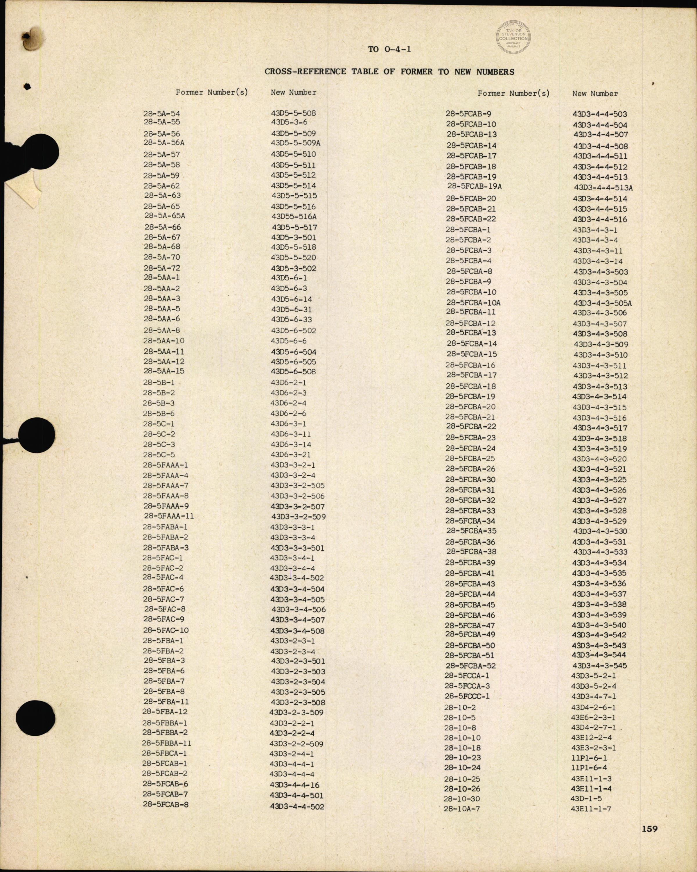 Sample page 161 from AirCorps Library document: Cross Reference Table of Former to New Numbers