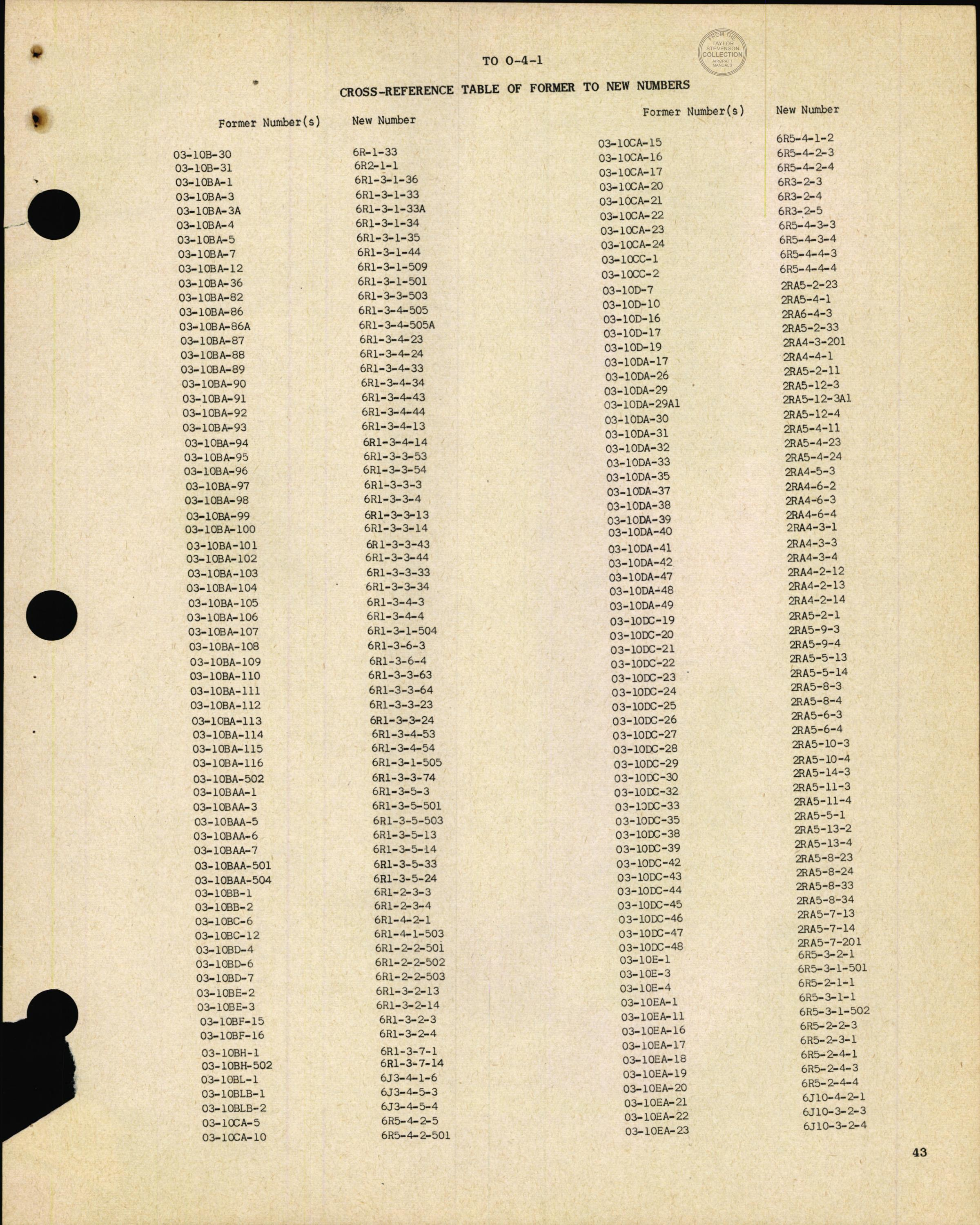 Sample page 45 from AirCorps Library document: Cross Reference Table of Former to New Numbers