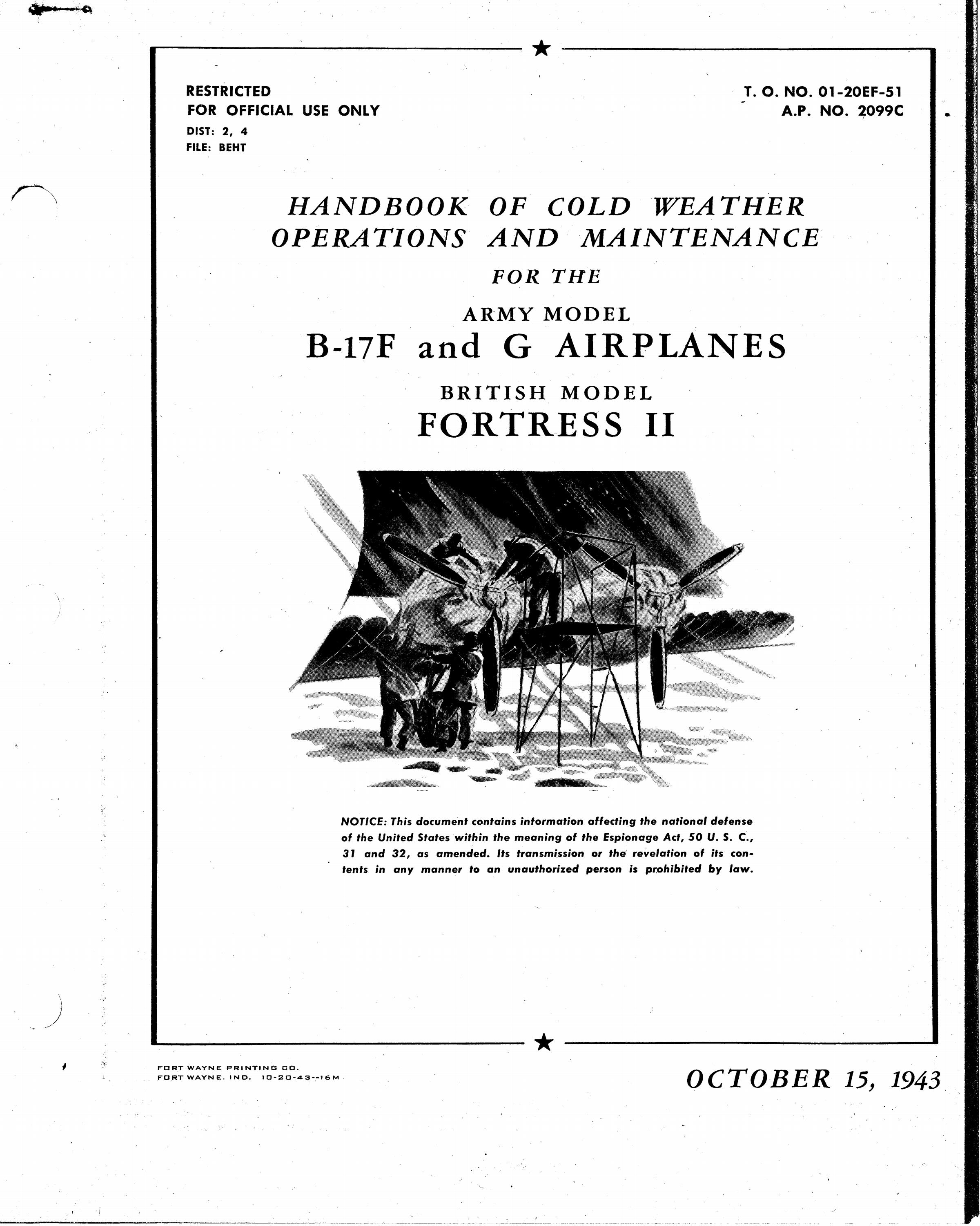 Sample page 1 from AirCorps Library document: Handbook of Cold Weather Operations & Maintenance - B17F, B-17G