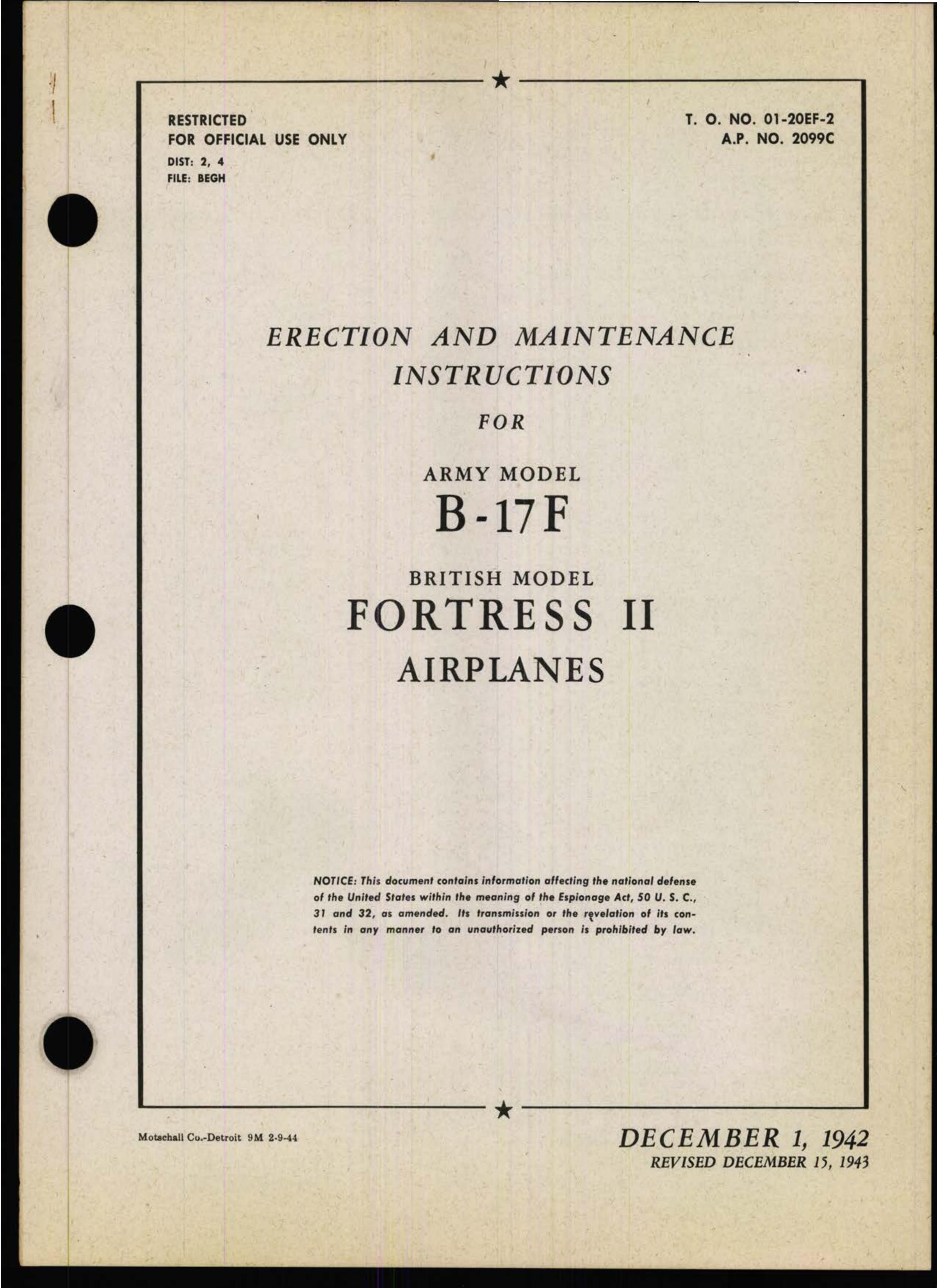 Sample page 1 from AirCorps Library document: Erection & Maintenance - B-17F - Dec 1943
