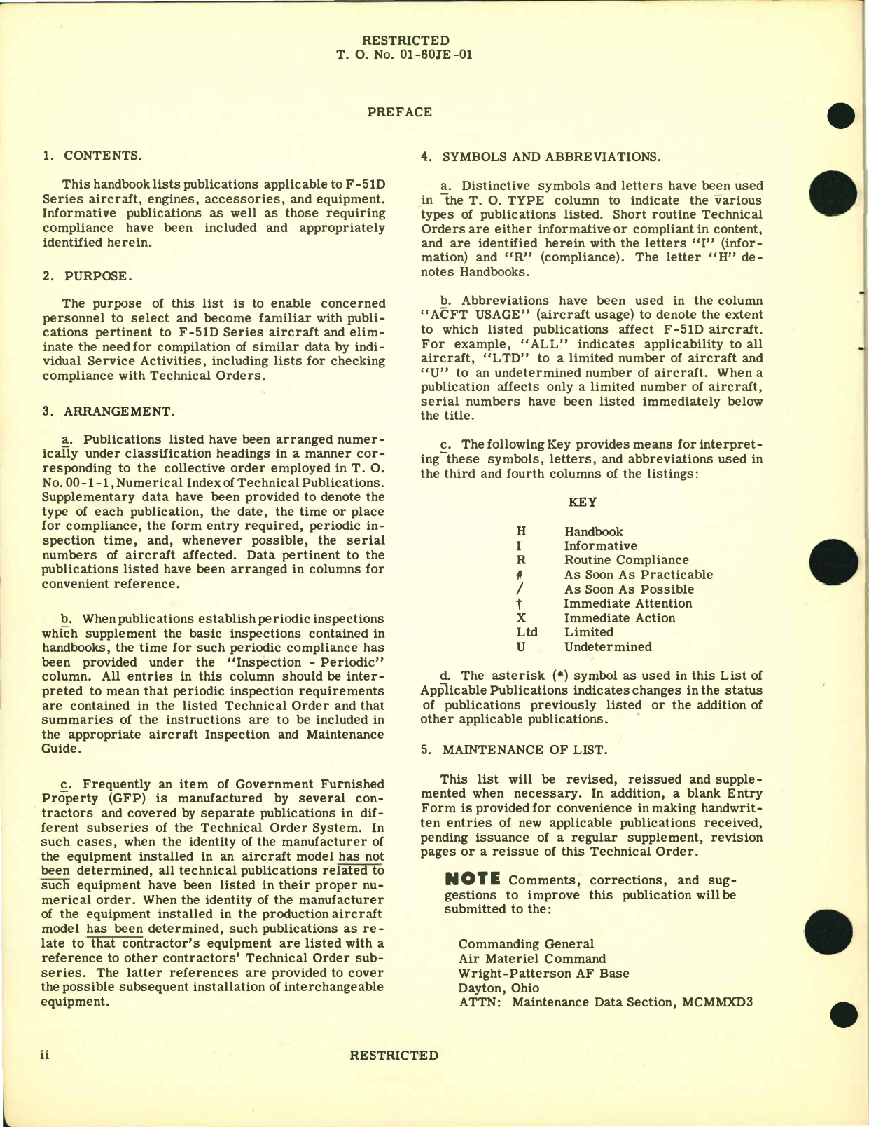 Sample page  4 from AirCorps Library document: F-51D Aircraft and Equipment - List of Applicable Publications
