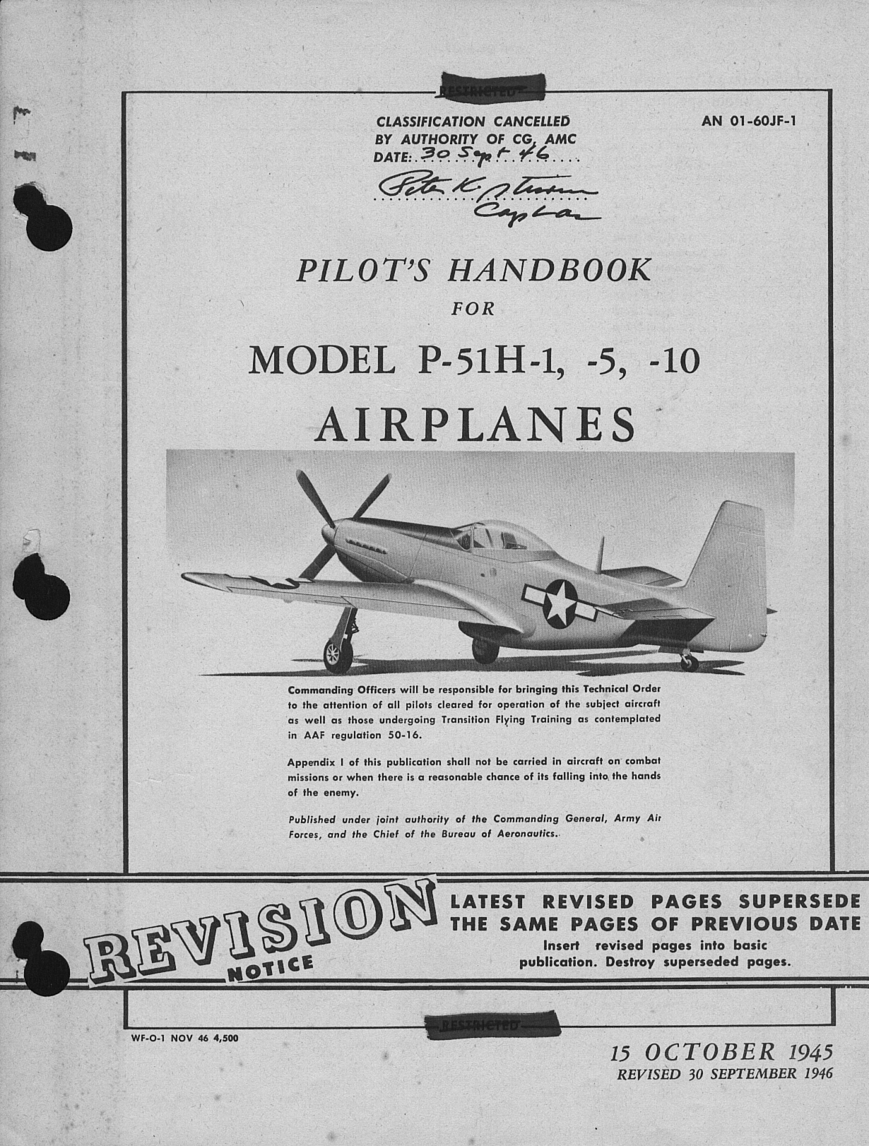 Sample page 1 from AirCorps Library document: Pilot's Handbook for P-51H-1, -5, and -10 Airplanes