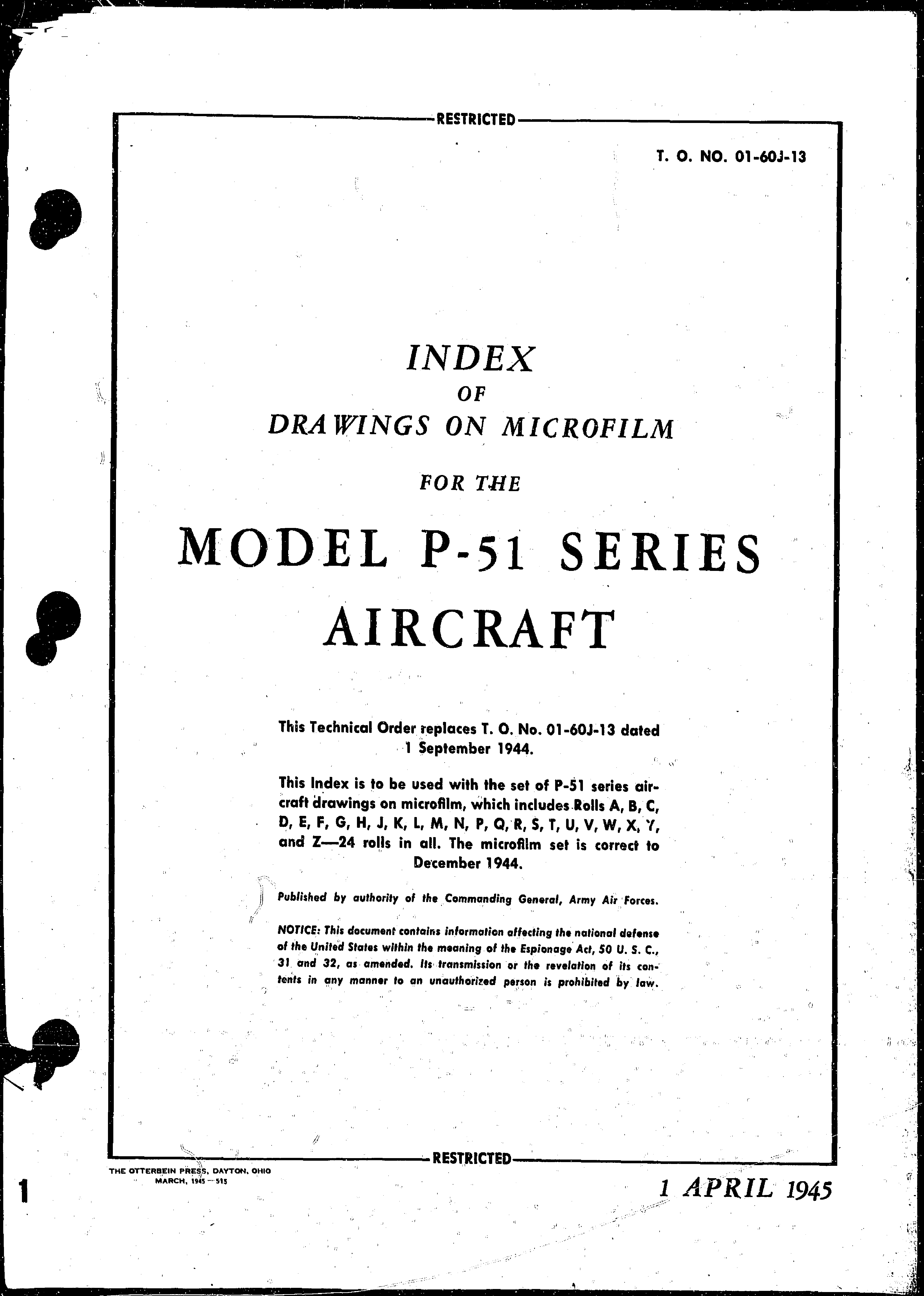 Sample page 1 from AirCorps Library document: Index of Drawings on Microfilm for Model P-51 Series Aircraft