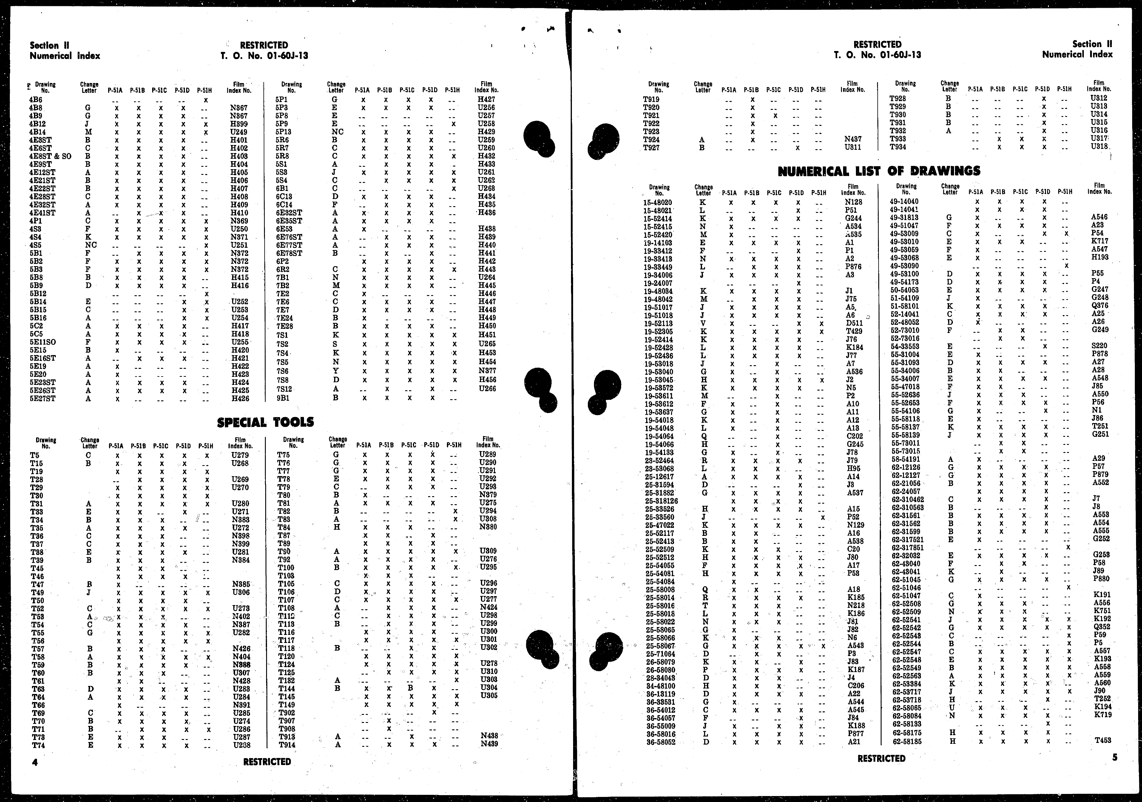 Sample page 4 from AirCorps Library document: Index of Drawings on Microfilm for Model P-51 Series Aircraft
