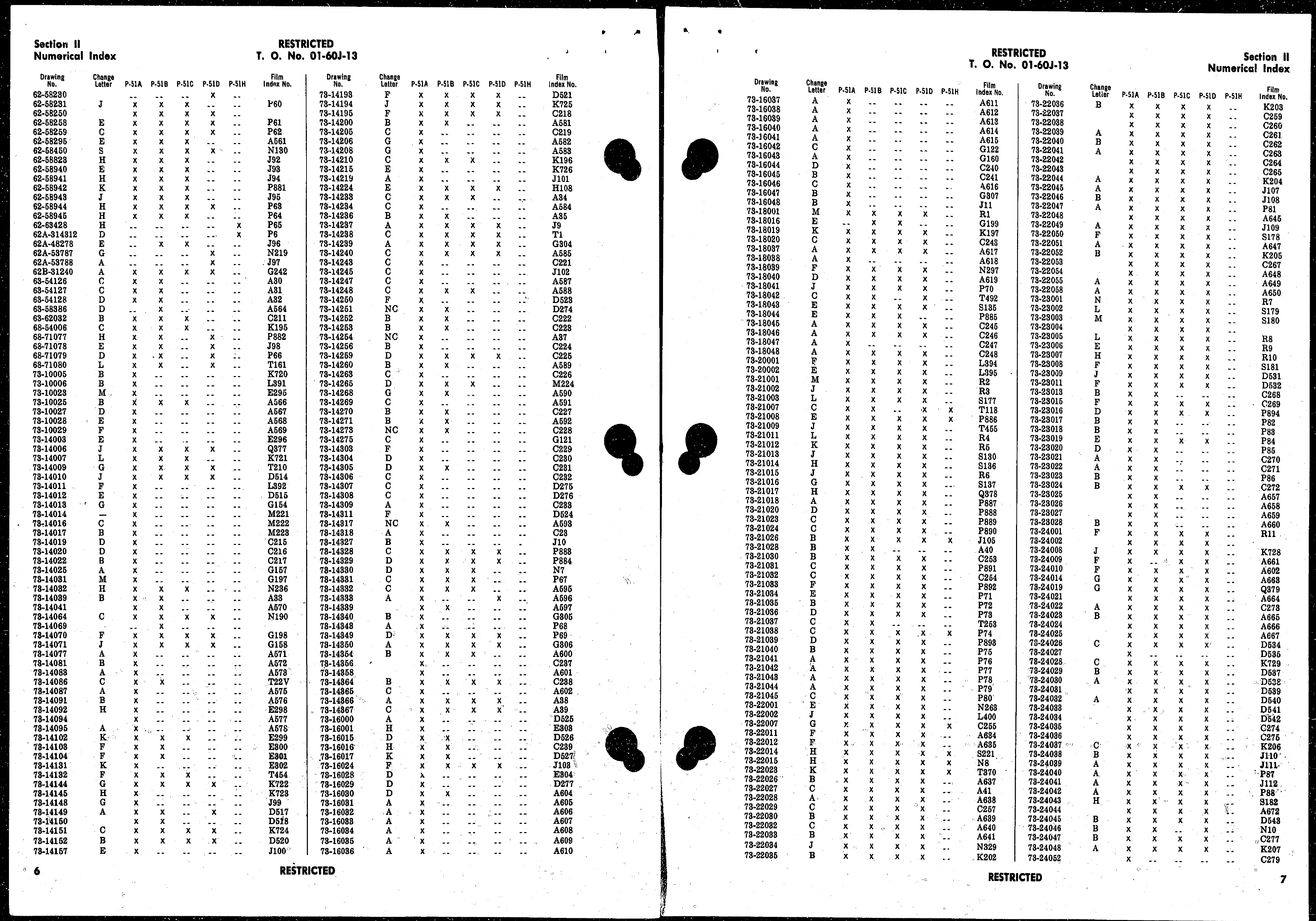 Sample page 5 from AirCorps Library document: Index of Drawings on Microfilm for Model P-51 Series Aircraft