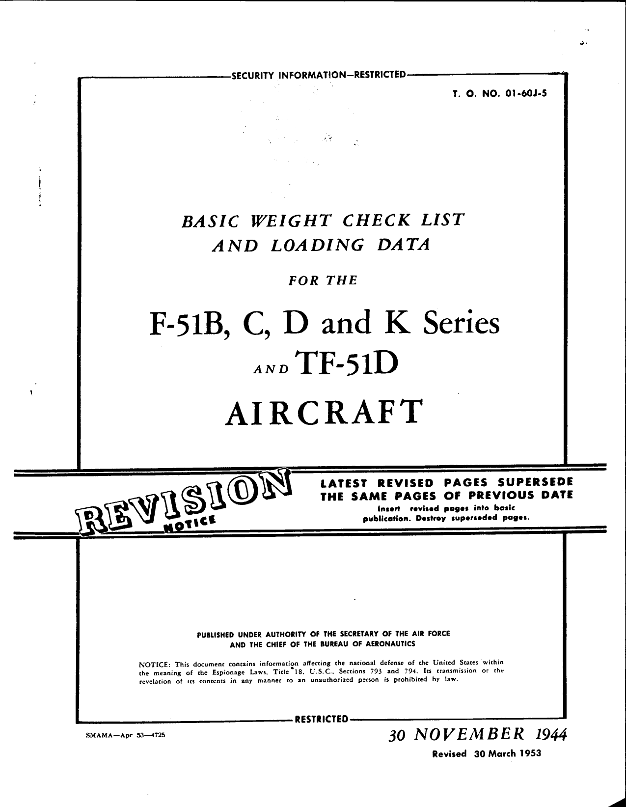 Sample page 1 from AirCorps Library document: Basic Weight Check List & Data for the F-51 Series and TF-51D