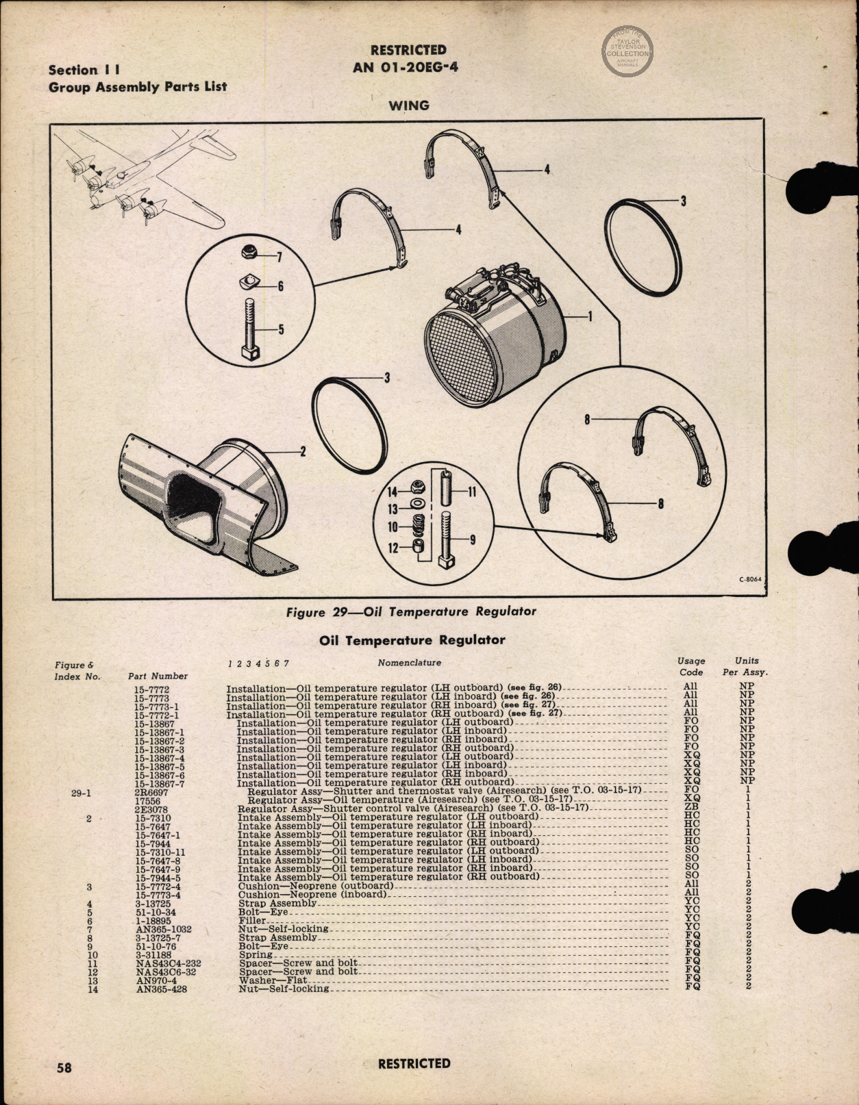 Sample page 62 from AirCorps Library document: Parts Catalog - B-17