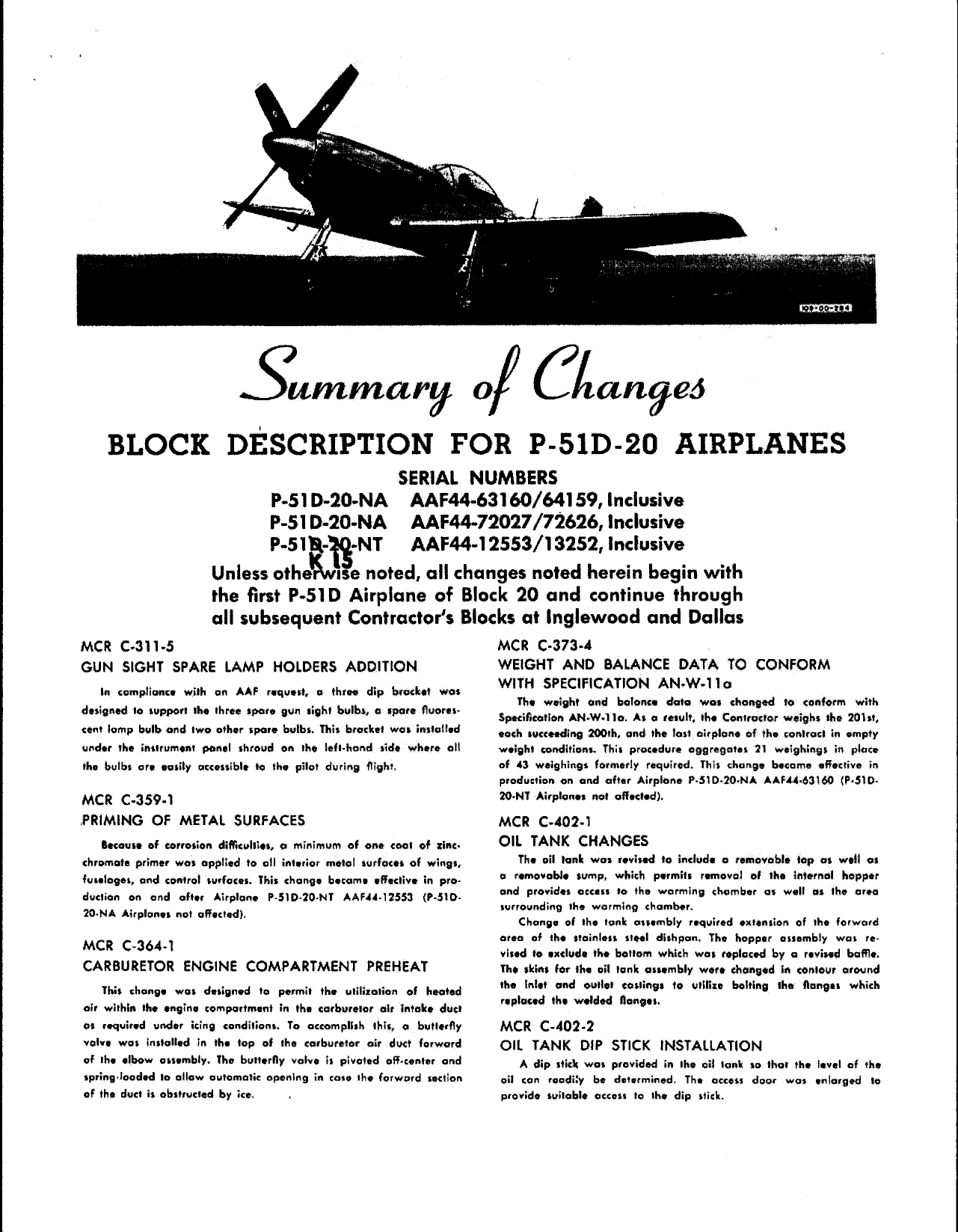 Sample page 1 from AirCorps Library document: Summary of Changes - Block Description for P-51D-20 Airplanes