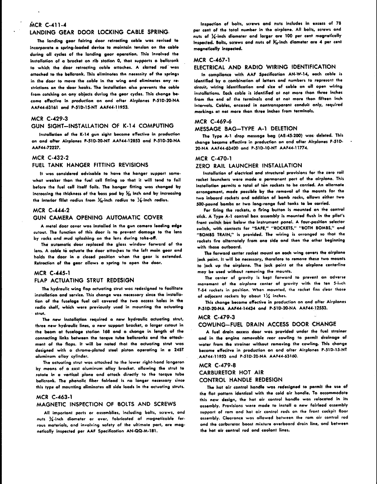 Sample page 2 from AirCorps Library document: Summary of Changes - Block Description for P-51D-20 Airplanes