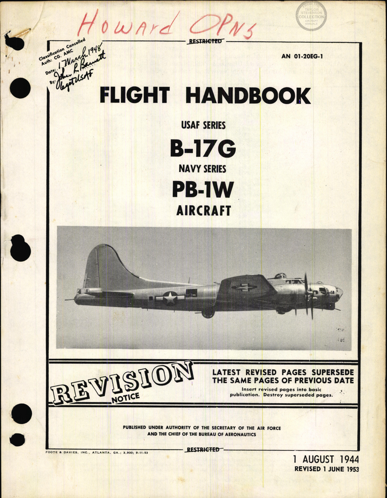 Sample page 1 from AirCorps Library document: Flight Handbook for B-17G, PB-1E Aircraft