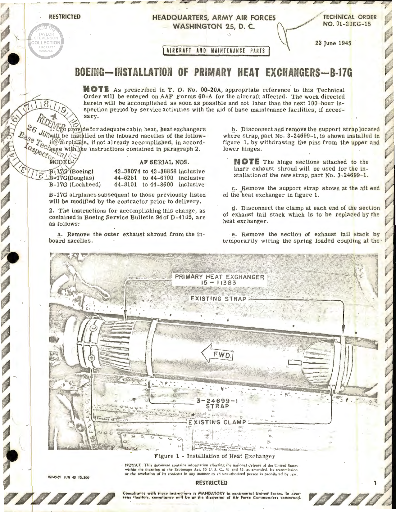 Sample page 1 from AirCorps Library document: Installation of Primary Heat Exchangers for B-17G