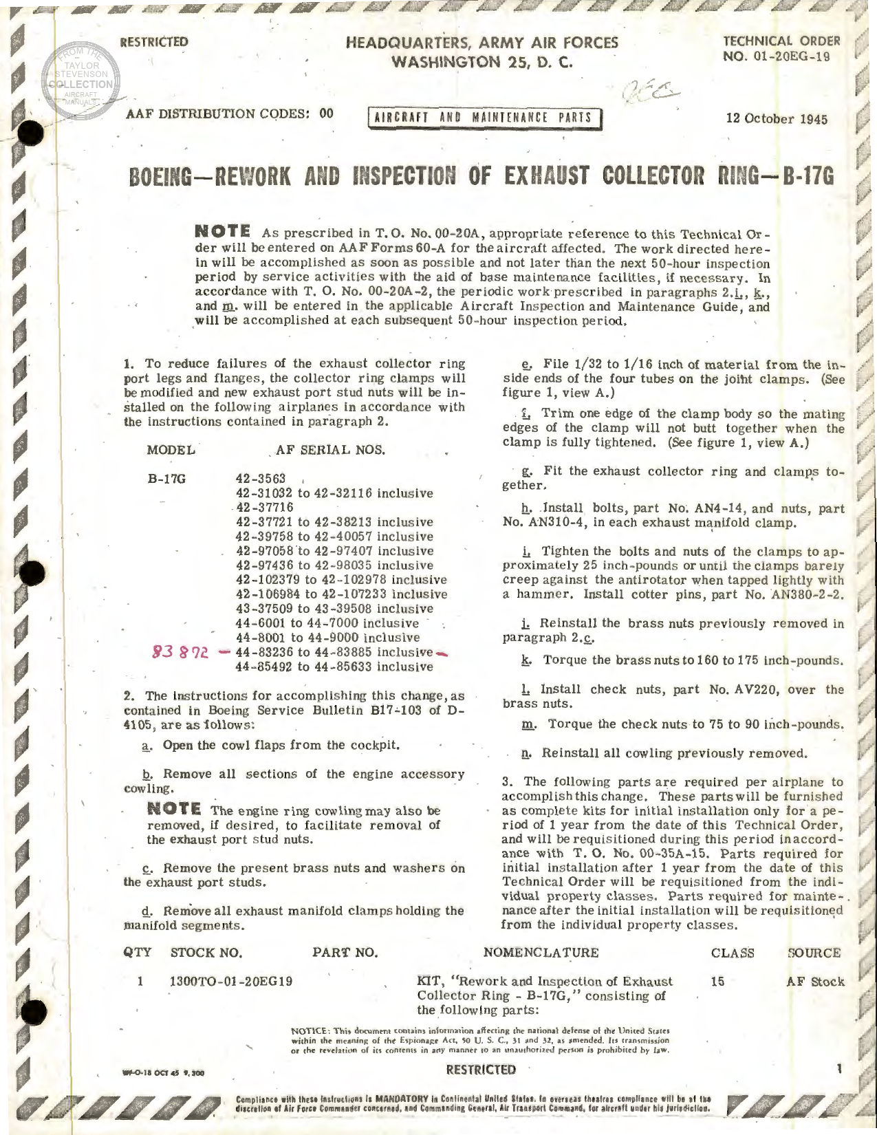Sample page 1 from AirCorps Library document: Rework and Inspection of Exhaust Collector Ring for B-17G