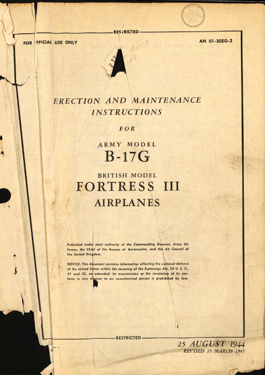 Sample page 1 from AirCorps Library document: Erection and Maintenance Instructions for B-17G (Fortress III) Airplanes