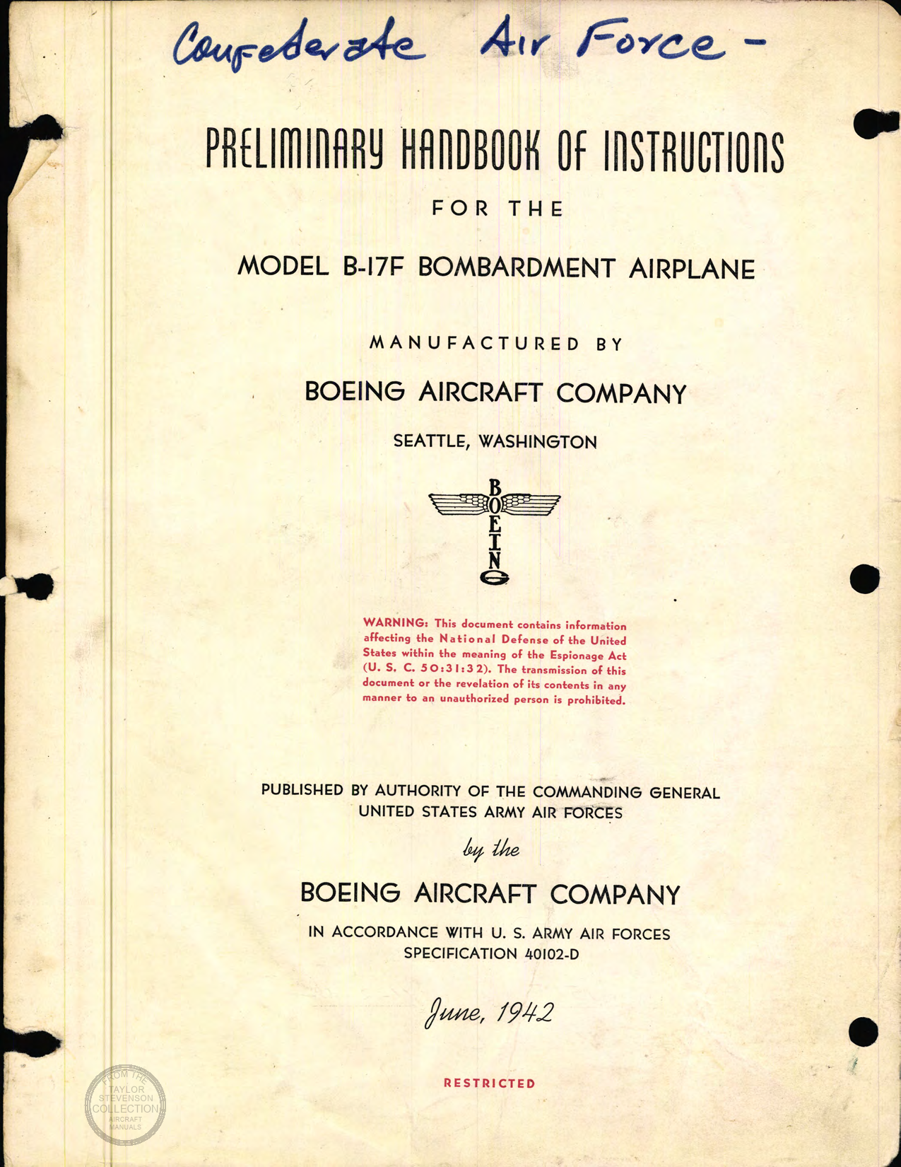 Sample page 1 from AirCorps Library document: Preliminary Handbook of Instructions for Model B-17F Bombardment Airplane