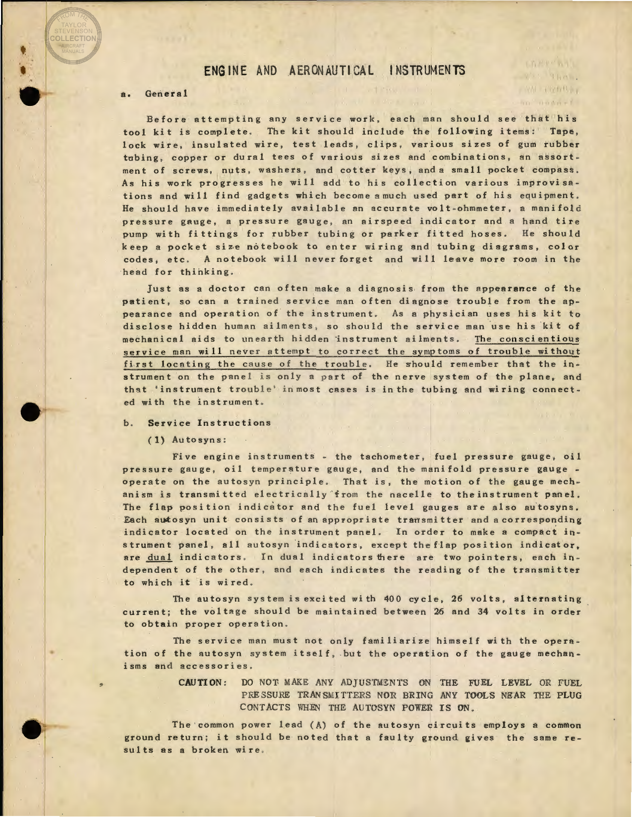 Sample page 1 from AirCorps Library document: Engine and Aeronautical Instruments for the B-17
