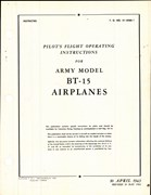 Pilot's Flight Operating Instructions for Army Model BT-15 Airplanes